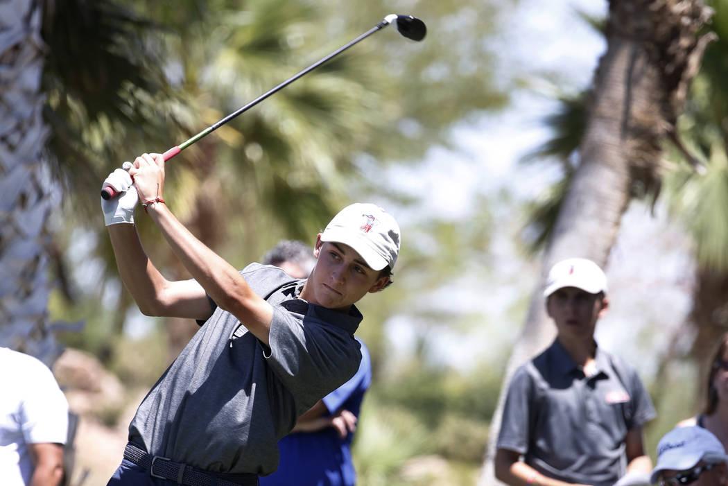 Coronado High's Benjamin Sawaia hits his tee shot at Reflection Bay Golf Club on Monday, May 14 ...