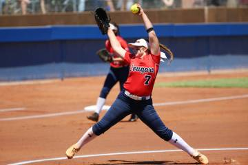 Coronado's Ashley Ward (7) pitches against Shadow Ridge in the Southern Nevada championship gam ...