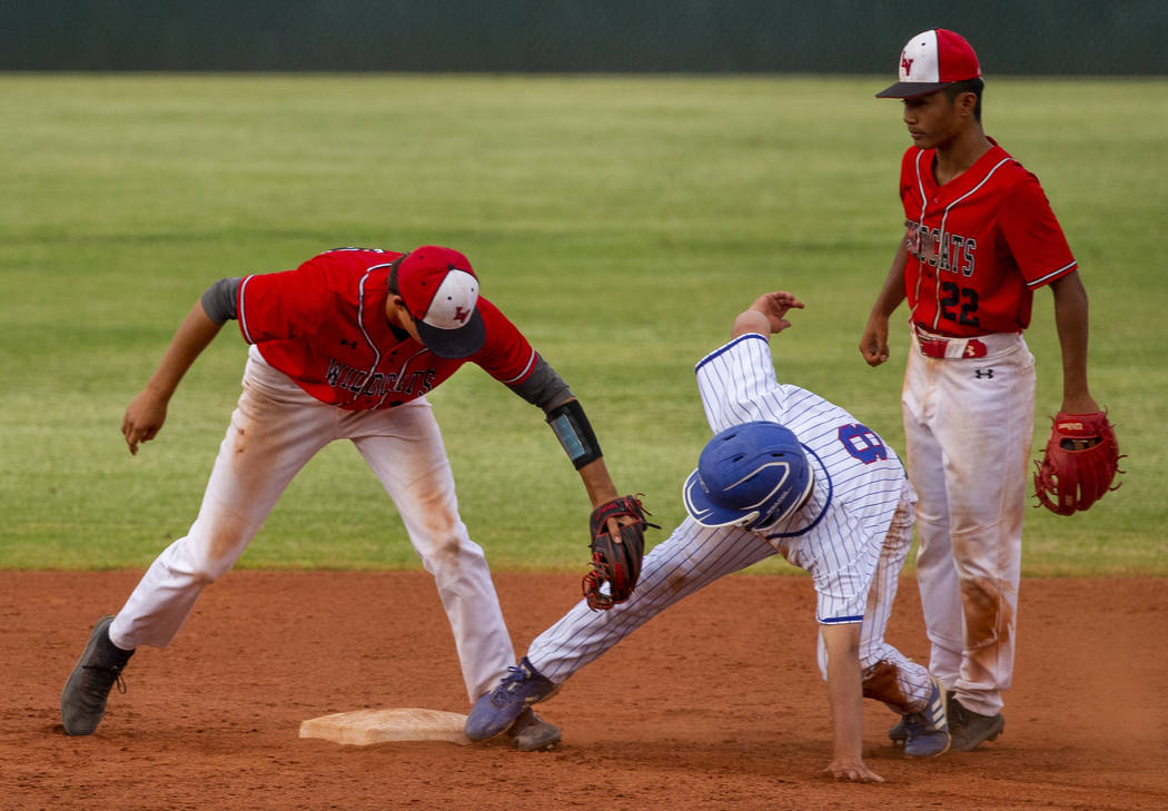 Las Vegas' Nathan Freimuth (12) tags out Reno's Gunner Gouldsmith (8) who misses the base and g ...