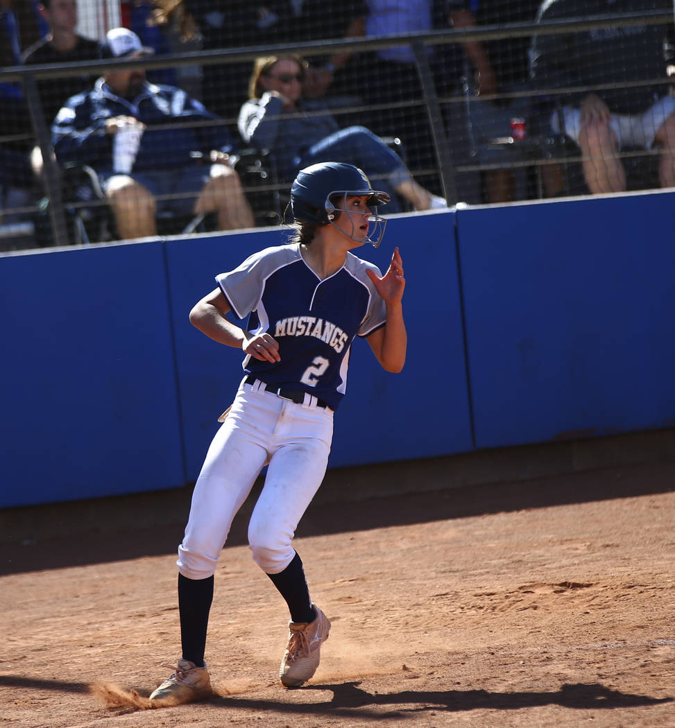Shadow Ridge's Jasmine Payne (2) scores a run against McQueen during the second round of the Cl ...