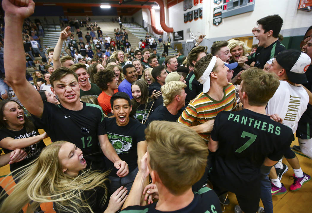 Palo Verde players and students celebrate their victory over Coronado in the Class 4A state vol ...