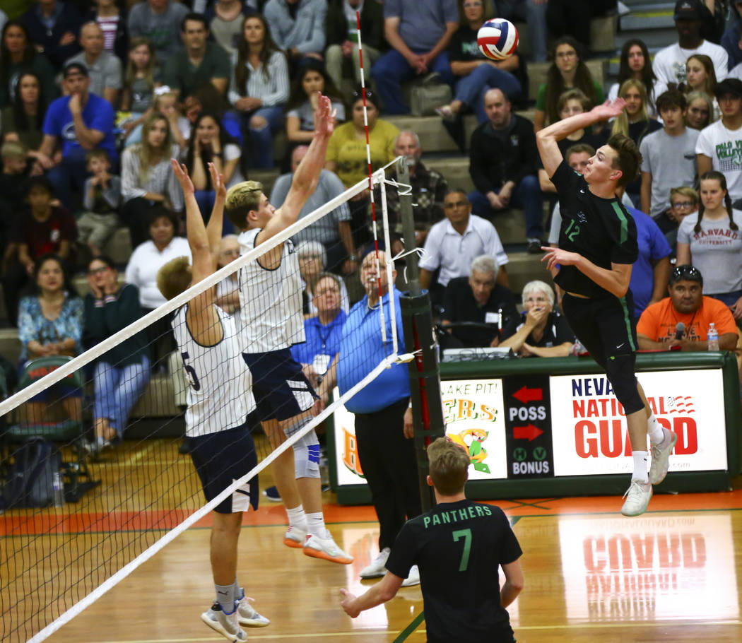 Palo Verde's Jared Brady (12) looks to send the ball to Coronado during the Class 4A state voll ...