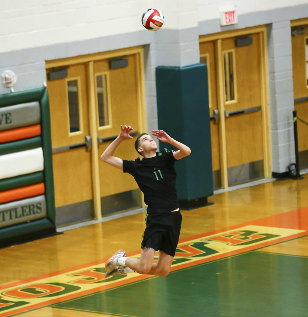 Palo Verde's Cooper Jarman (11) serves the ball against Coronado during the Class 4A state voll ...