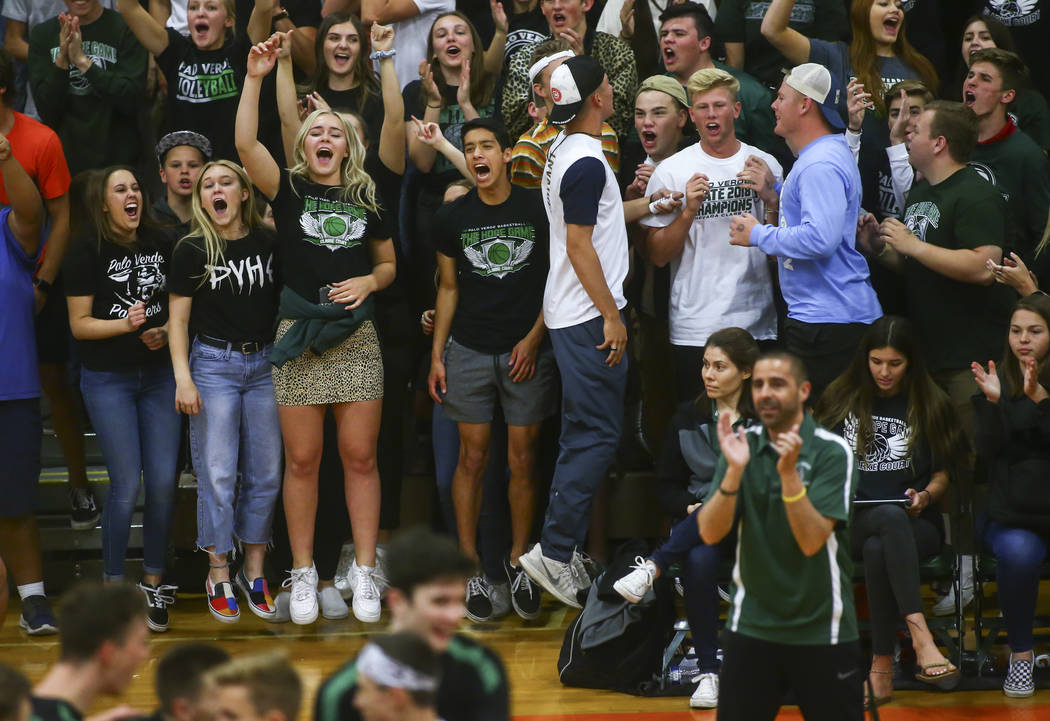 Palo Verde students celebrate as their team leads against Coronado during the Class 4A state vo ...