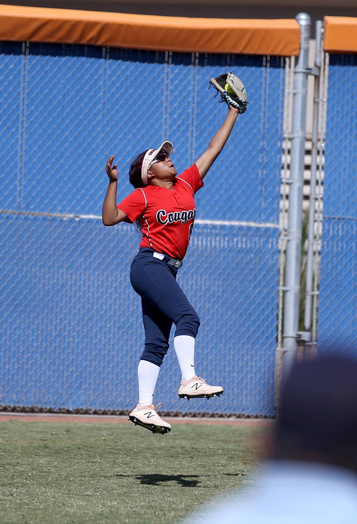 Coronado Kaila Angel (9) makes a leaping catch against Shadow Ridge in their Class 4A state cha ...