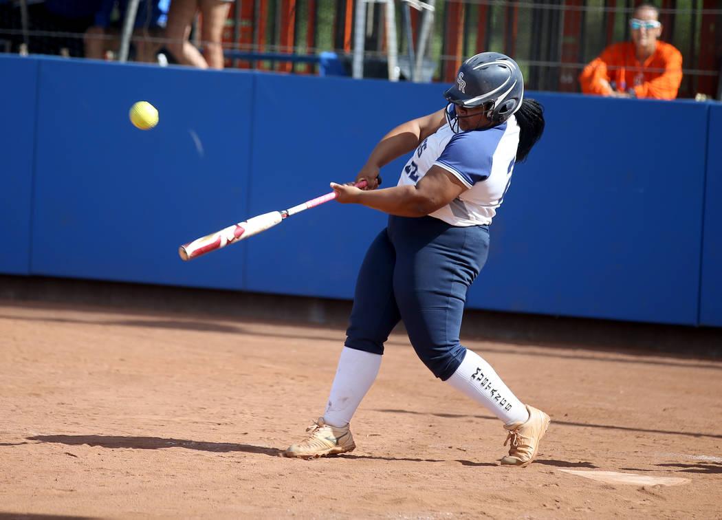 Shadow Ridge's Alyssa Stanley (22) hits against Coronado in their Class 4A state championship w ...
