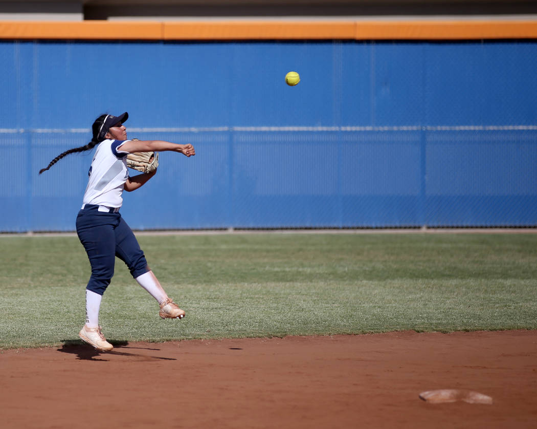 Shadow Ridge's Angelina Esqueda (6) throws to first against Coronado in their Class 4A state ch ...