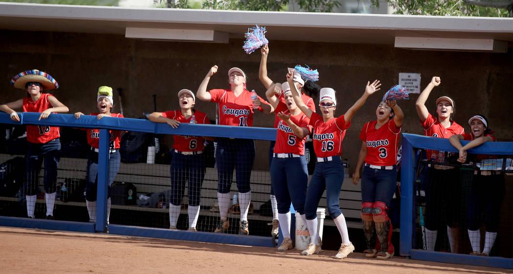 Coronado players cheer during their Class 4A state championship winners' bracket final softball ...