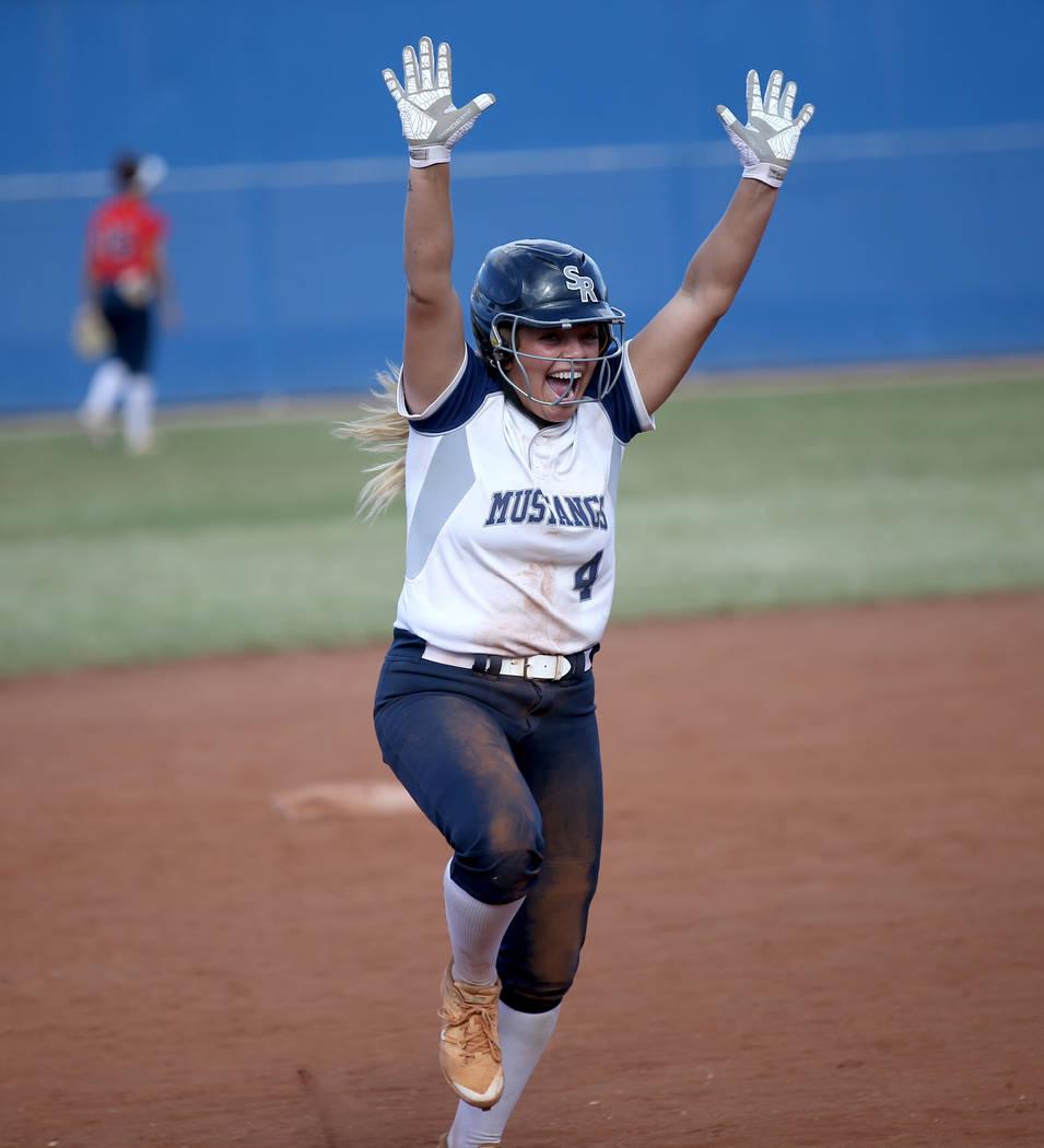 Shadow Ridge's Shea Clements celebrates her go-ahead home run against Coronado in their Class 4 ...