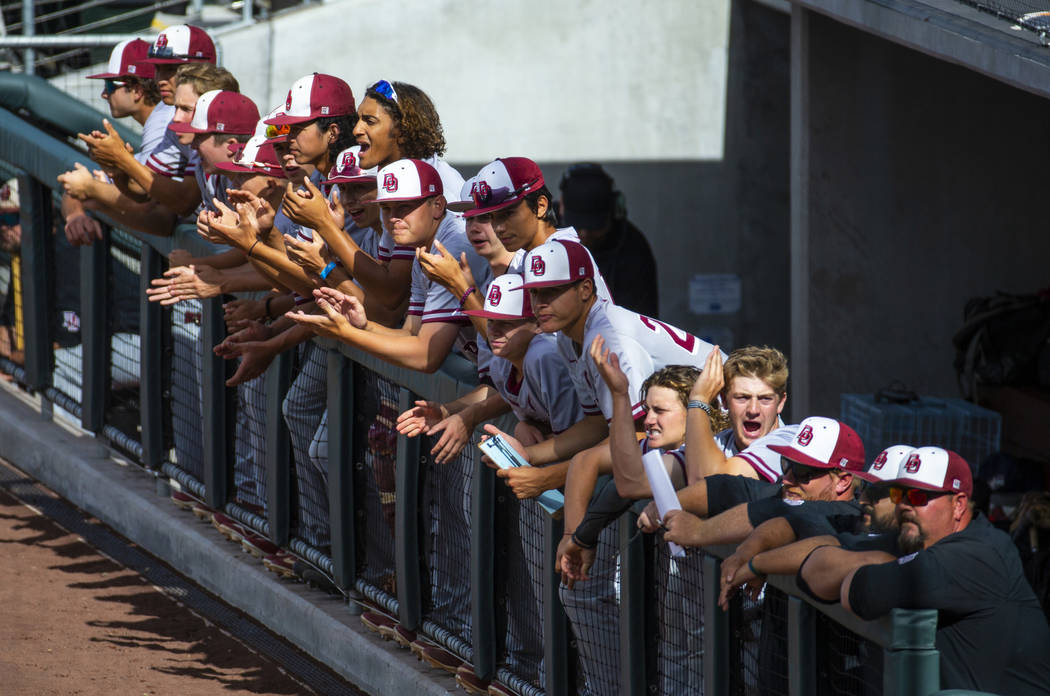 Desert Oasis players cheer on their teammate batting against Reno in the first inning during th ...