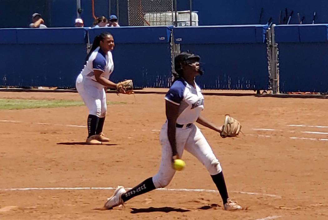 Shadow Ridge junior pitcher Jasmine Martin retired 12 of the 16 batters she faced and struck ou ...