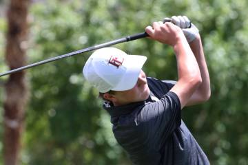Faith Lutheran's Colton Cherry watches his drive during the Nevada State High School Regional G ...