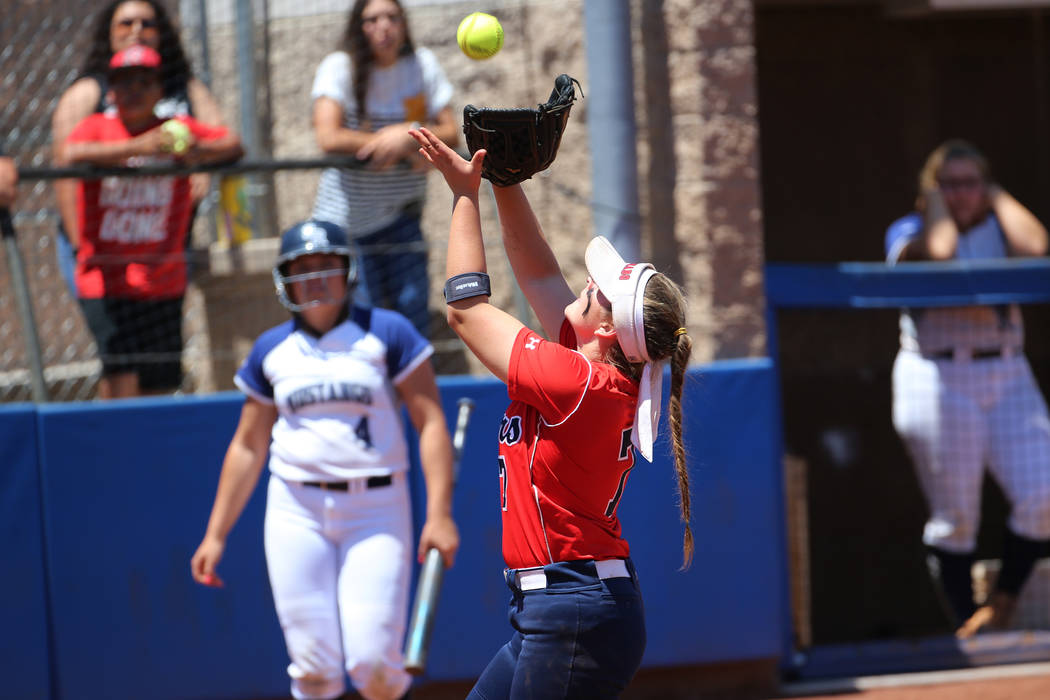Coronado's Ashley Ward (7) catches a ball in the infield for an out against Shadow Ridge in the ...