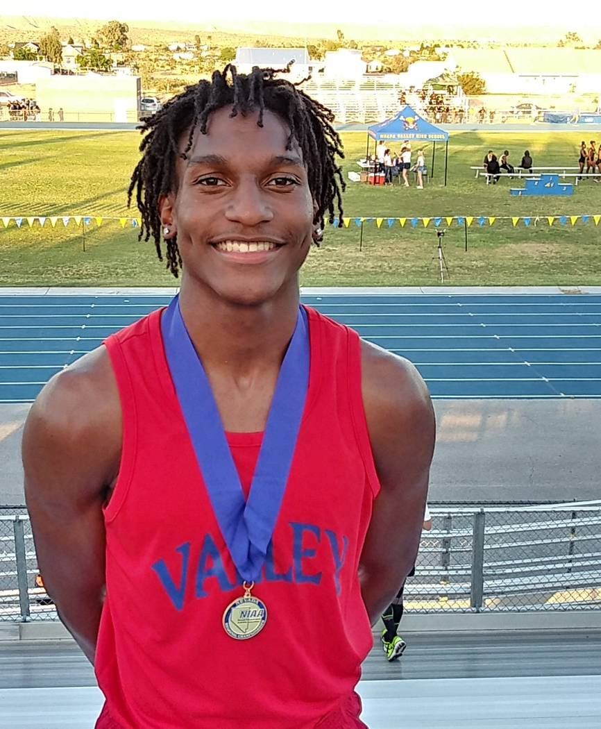 Valley's Christian Franklin is a member of the Nevada Preps all-state boys track team.