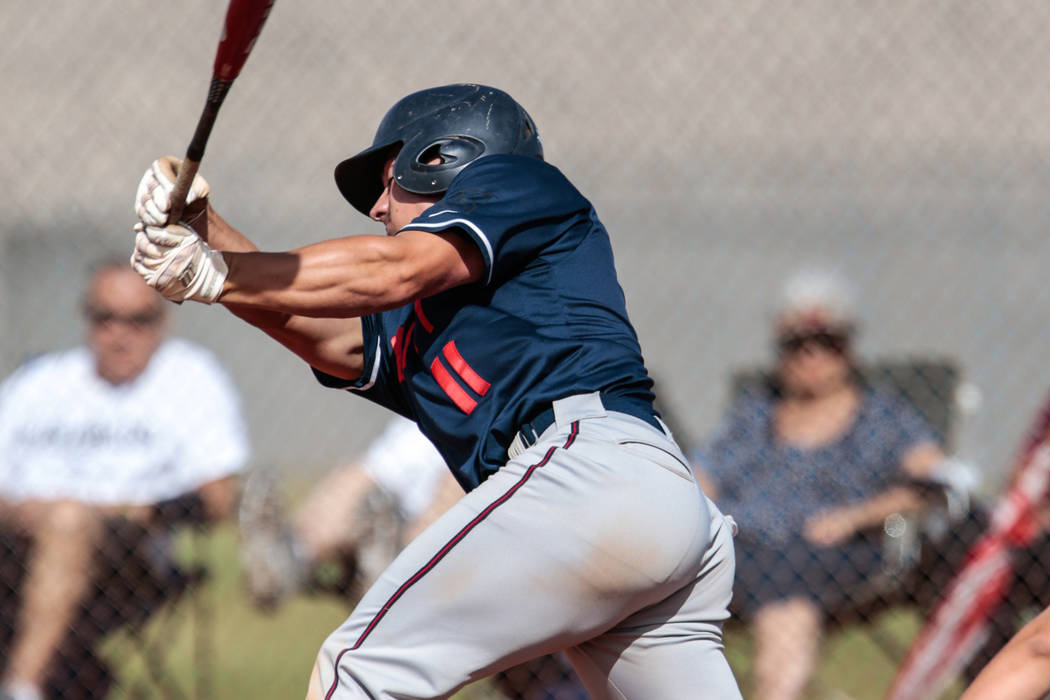 Liberty High School's Preston Pavlica (11) swings at the ball during a baseball game at Silvera ...