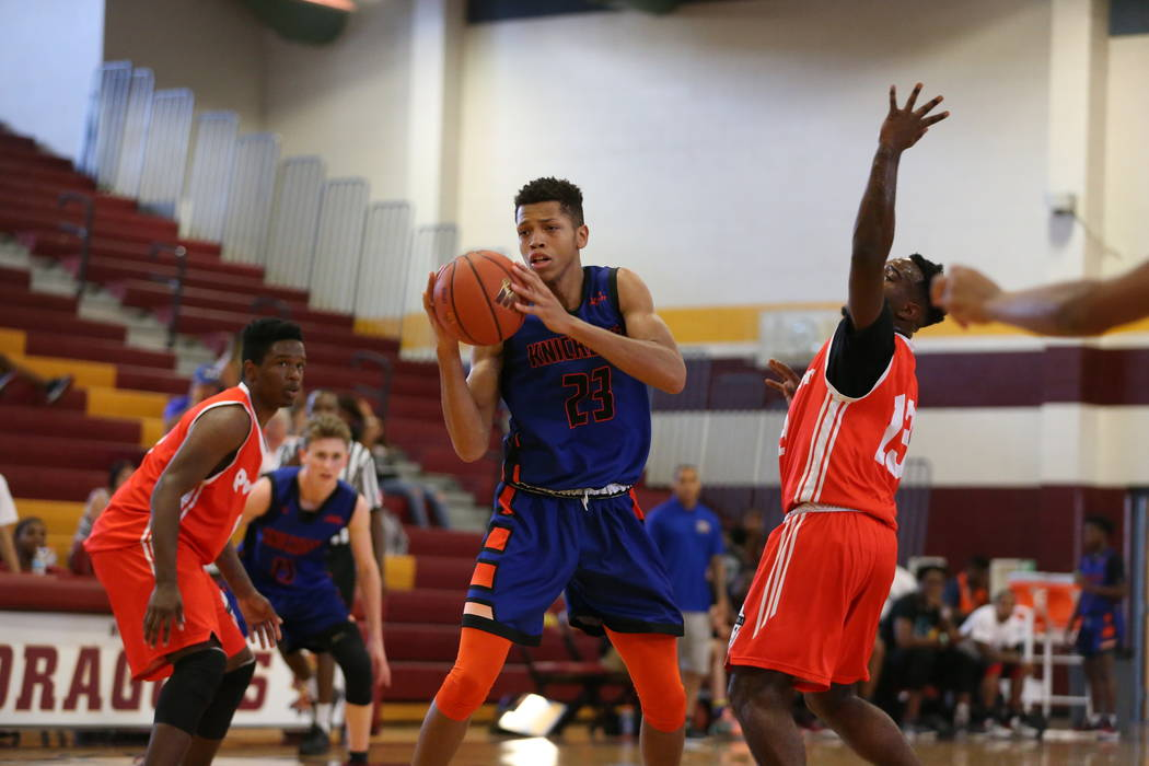 Las Vegas Knicks guard Nick Blake (23) looks for an open shot during his basketball game at Del ...
