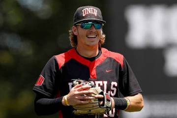 UNLV's Bryson Stott (10) prior to an NCAA college baseball game against the University of Houst ...